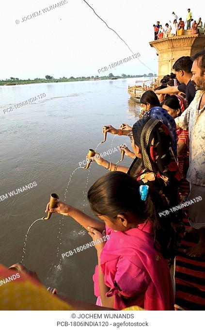 India, Vrindavan, a hindu ceremony at the holy river Yamuna