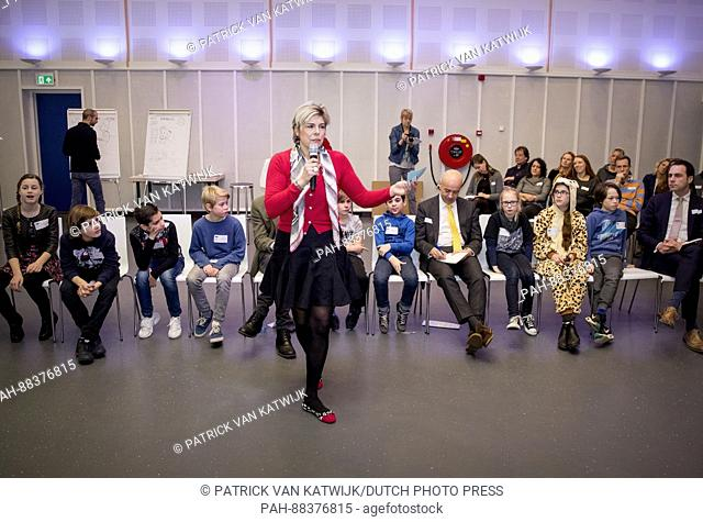 Princess Laurentien of The Netherlands leads an dialogue session between children of group 7 from the O.B.S. het Volle Leven school in Scheveningen and the...