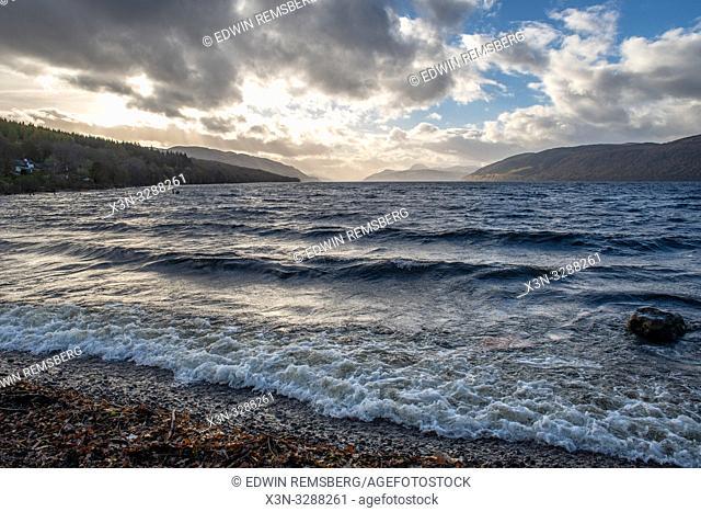 Waves break at coastline of Loch Ness in Scotland, United Kingdom
