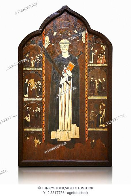 Gothic painted Altarpiece of Saint Peter Martyr by an anonymous Aragon artist. Tempera and varnished metal plate on wood. First third of 14th century