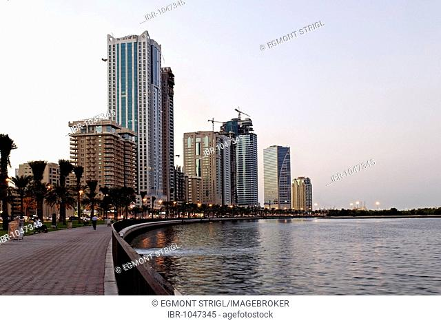 Skyline and corniche of Sharjah City, Emirate of Sharjah, United Arab Emirates, Arabia, Near East