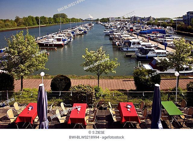 Marina yacht harbour in Bergkamen Ruenthe, Germany, North Rhine-Westphalia, Ruhr Area, Bergkamen