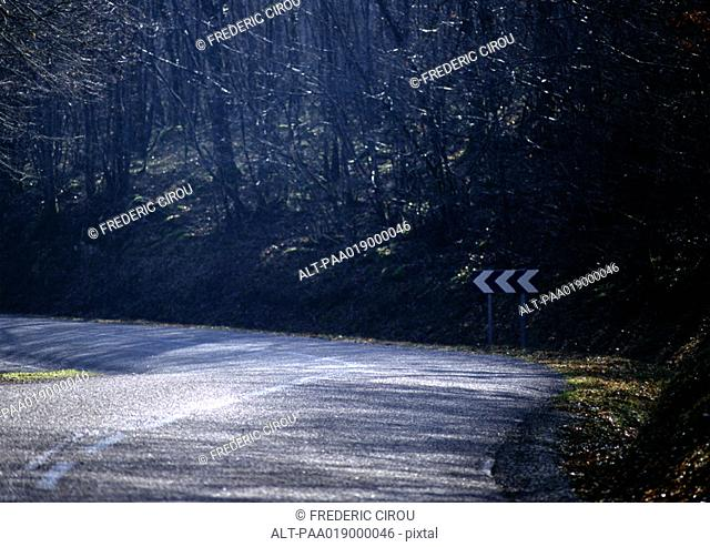 Curve in road in forest area