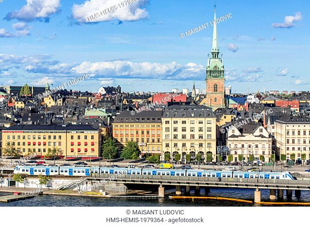 Sweden, Stockholm, view from the lookout Monteliusvagen (Sodermalm) Gamla Stan (Old Town) with the German Church and the underground