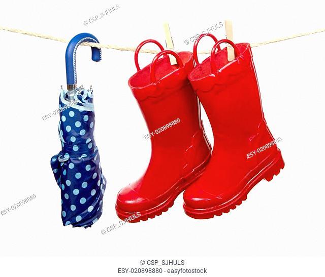 Umbrella and Rain Boots