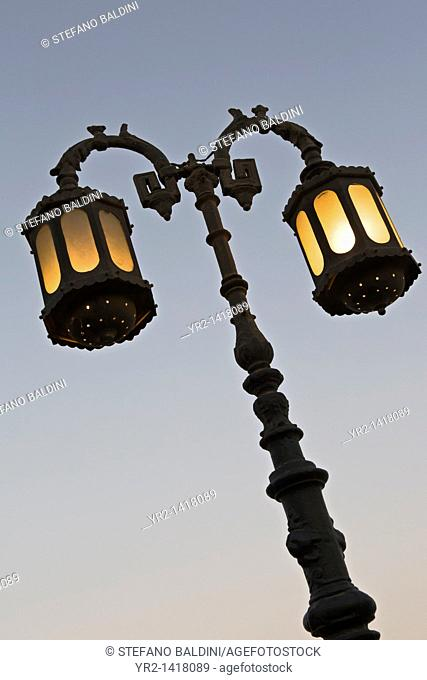 A characteristic lamp post in the city of Dahab at dusk, Egypt