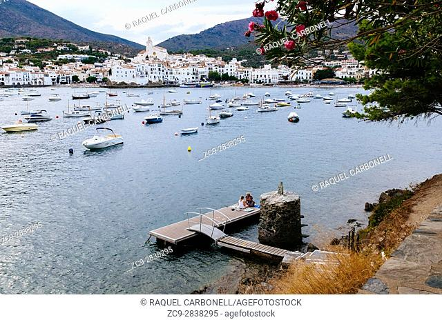View from far of the white village. Cadaqués, Alt Amporda, Girona province, Catalonia, Spain