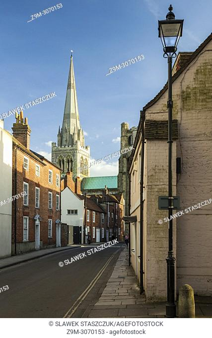 Chichester cathedral towers over the city centre, West Sussex, England