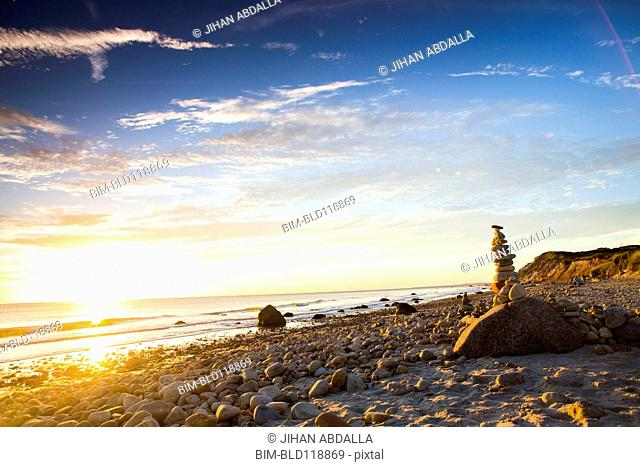 Stack of rocks on beach