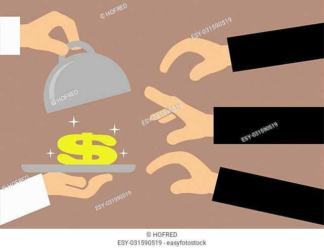 Vector illustration of a pair of hands opening the lid of a metal tray to reveal a sparkling golden dollar sign and many hands reaching to get it
