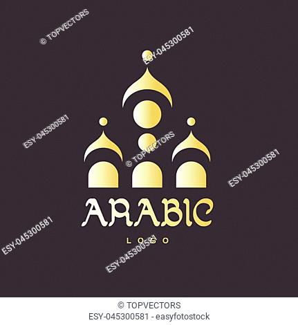Golden abstract islamic mosque template for logo, poster, t-shirt and business card. Original muslim vector element on dark background