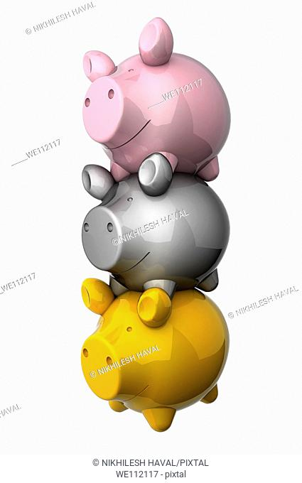 Stack of 3 various piggy banks