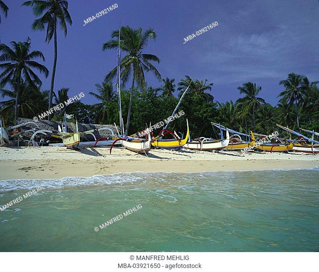 Indonesia, island Bali, Padang Bai, beach, shore, outrigger-boats, lake,coast, alm, economy, fishery, sandy beach, palm-beach, boats, rowboats, fisher-boats