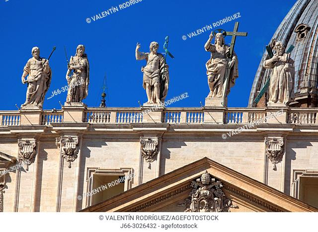 Detail on the facade of the St. Peter`s Basilica in the Vatican. Rome. Italy