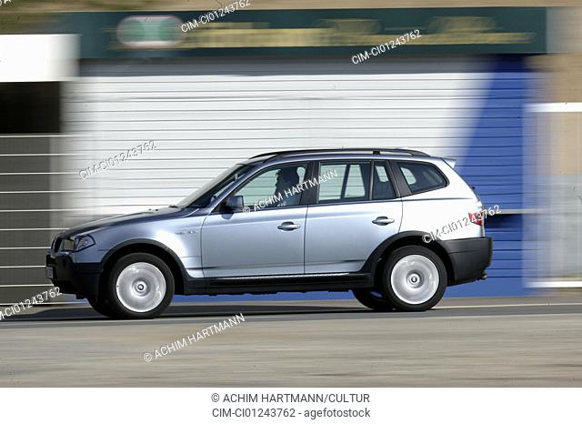Car, BMW X3 3.0i, cross country vehicle, model year 2003-, silver, driving, side view, test track