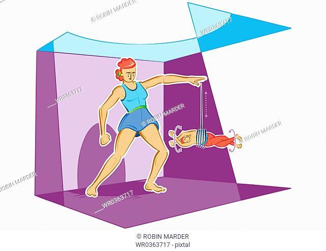 Woman with Human Yo-Yo