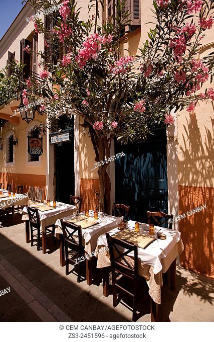Restaurant in the old town, Rethymno, Crete, Greek Islands, Greece, Europe