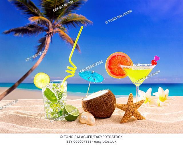 Caribbean tropical sand beach cocktails mojito margarita
