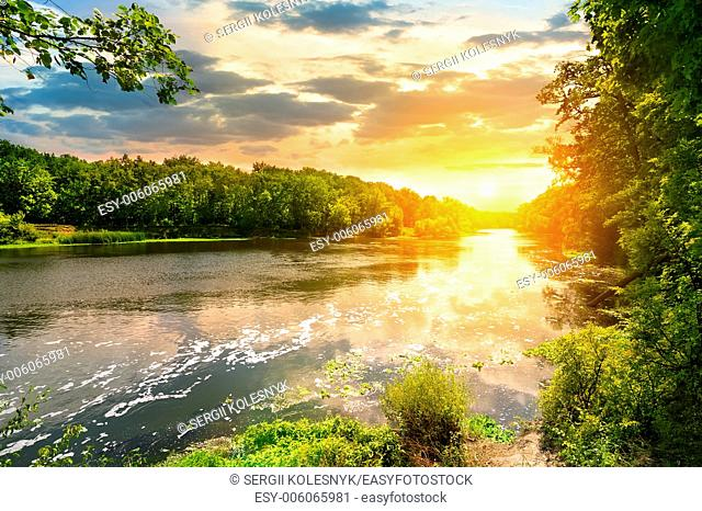 Sunset over the river Severskiy Donets in the forest