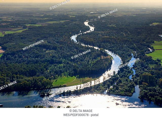 Germany, Bavaria, Deggendorf, Danube river, Isar river mouth, alluvial forest, aerial view