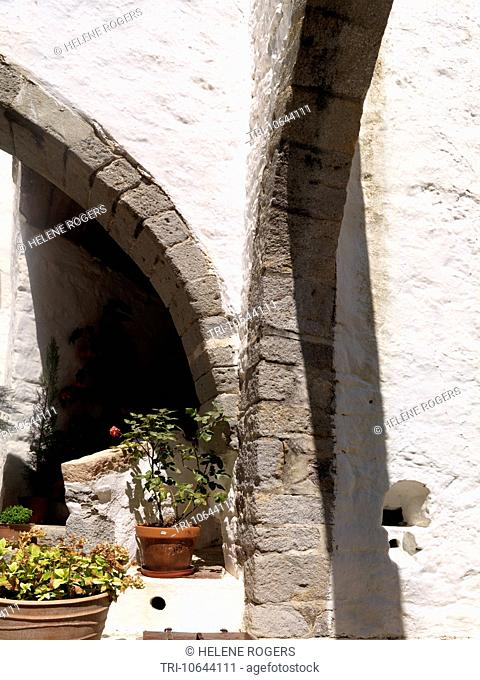 Chora Patmos Greece Arches at the Saint John The Theologian Monastery