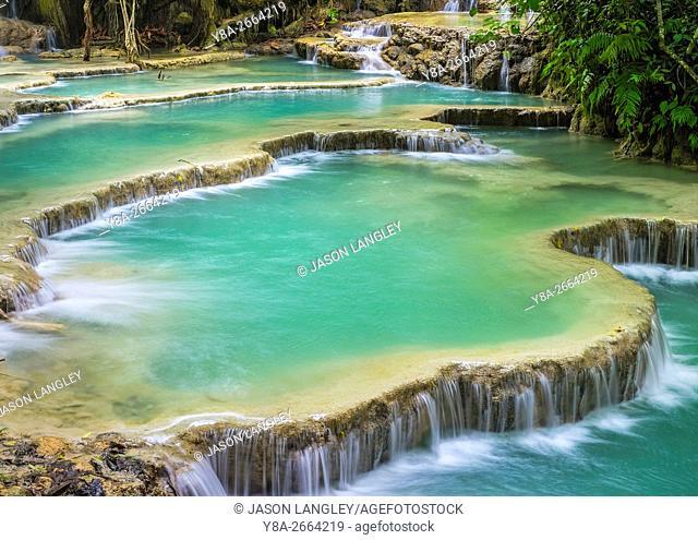 Kuang Si Falls (Tat Kuang Si) Waterfall, Louangphabang Province, Laos (MR)
