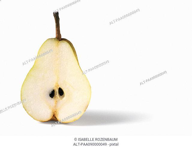 Pear half, close-up