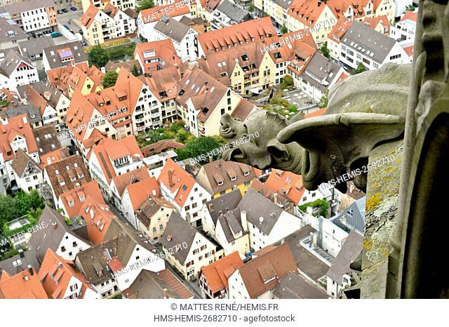 Germany, Bade Wurtemberg, Ulm, Albert Einstein' s birthplace, Lutheran Cathedral (Munster), view from the tallest church in the world with a steeple measuring...
