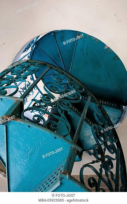 circular staircase, Cuba, Cienfuegos, digitally arranged