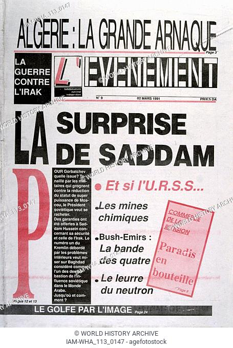 French newspaper 'L'Evenement' headline news on the deteriorating position of Saddam Hussein in the Gulf War. 2nd March 1991