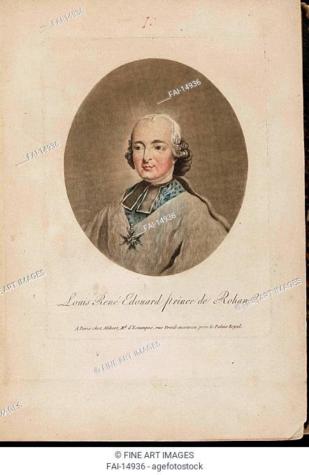 Louis René Édouard de Rohan. French master . Etching, watercolour. Classicism. 1786. Private Collection. Graphic arts