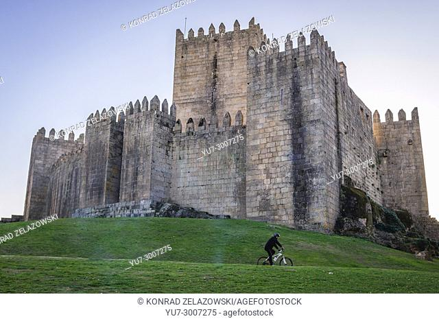 10th century castle in historical part of Guimaraes city in Minho Province of northern Portugal