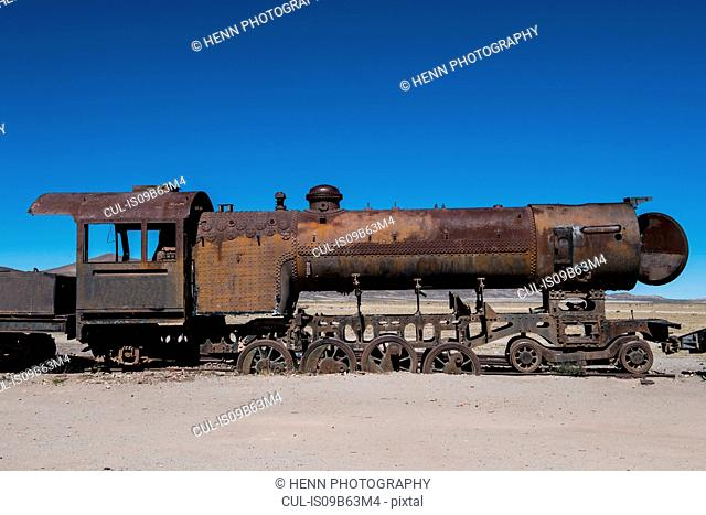 Rusted steam train at the train cemetery in Uyuni, Oruro, Bolivia