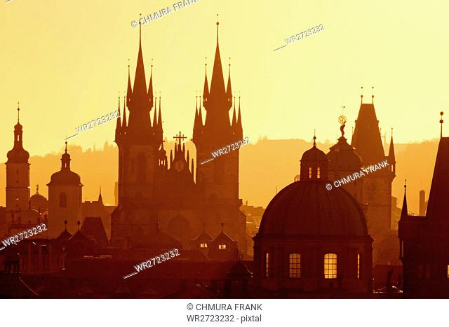 architecture, bohemia, building, buildings, city, church, Czech republic, dawn, Europe, history, old, Prague, sky, spire, sunrise, tower, town, urban, view