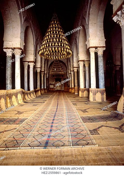 The interior of the Great Mosque at Kairouan, one of the oldest Islamic buildings and the first important onein North Africa