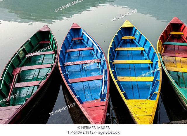 Nepal, Pokhara, local lake, boats