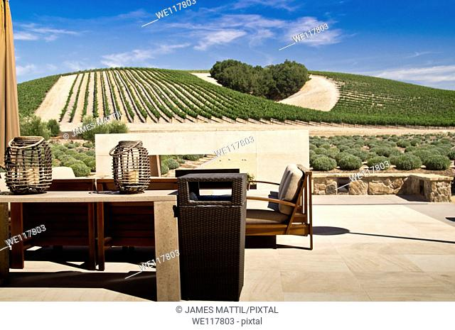 The patio of a winery overlooks a copse of trees forms a heart shape on the hills of scenic California vineyard