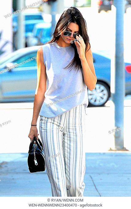 Kendall Jenner leaves Cafe Zinque, wearing stripey trousers in Los Angeles Featuring: Kendall Jenner Where: Los Angeles, California