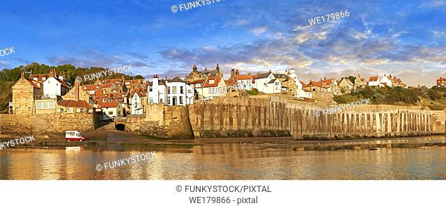 Harbour of historic fishing village of Robin Hood's Bay, Near Whitby, North Yorkshire, England
