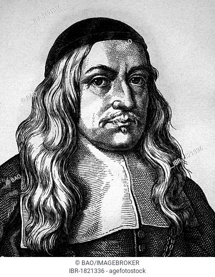 Hermann Conring, 1606 - 1681, polymath and scholars, physician, portrait, historical illustration, 1880