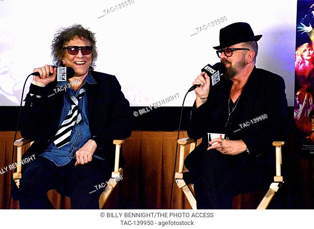 Mick Rock and Dave Stewart at Q&A at the Premiere Of 'SHOT! The Psycho-Spiritual Mantra of Rock' held at Pacific Theatres in Los Angeles