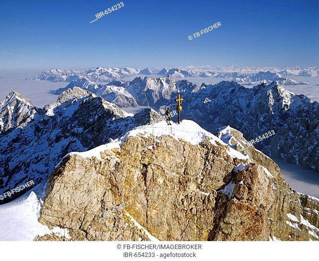 Panoramic view of the summit cross on Mt. Zugspitze, Wetterstein Range, Upper Bavaria, Bavaria, Germany, Europe