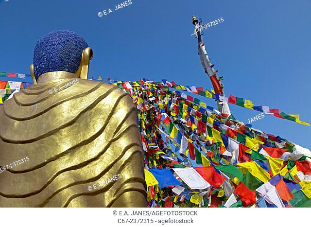 Prayer flags and Golden Buddha at Namo Buddha Shrine on top of a hill at 1982 mtr important pilgrimage centre Panauti Nepal