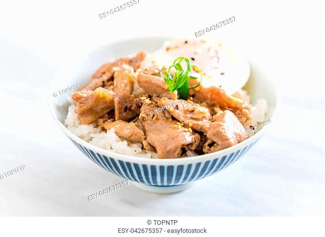 stir-fried pork with garlic on topped rice with egg - Asian food style