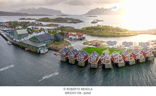 Aerial view of Svolvaer at sunset in Norway, Europe