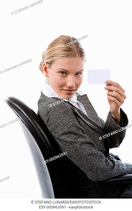 Beautiful business woman showing a blank card