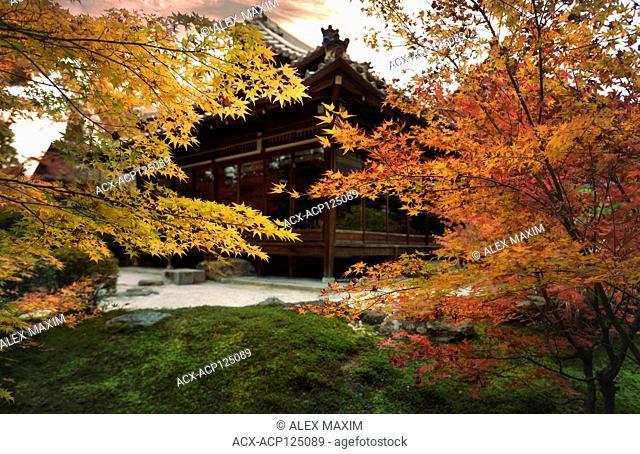 Tenju-an Japanese Temple main hall in beautiful autumn scenery of a temple garden. Nanzen-ji complex in Sakyo-ku, Kyoto, Japan 2017