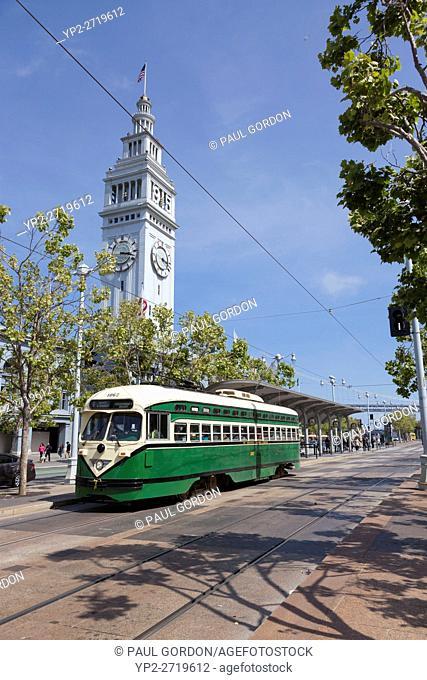 San Francisco, California: F-Market & Wharves Historic Streetcar at the San Francisco Ferry Building
