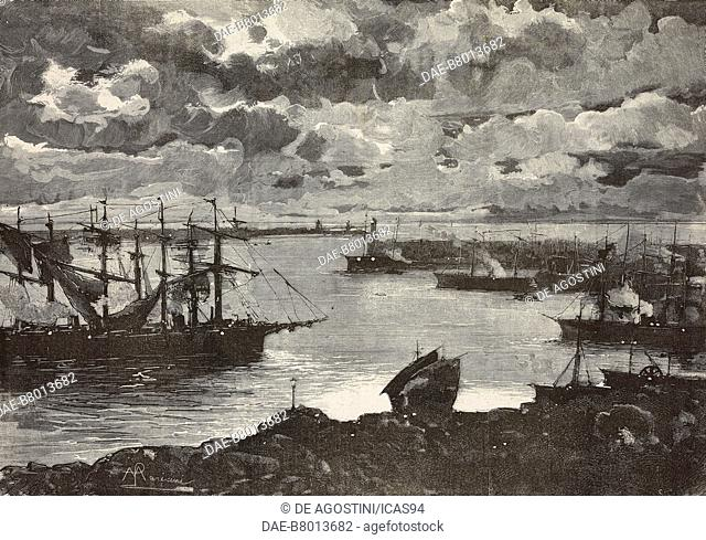 Genoa port at night, engraving from a painting by Pompeo Mariani, National Exposition in Turin, Italy, from L'Illustrazione Italiana, No 30, July 27, 1884