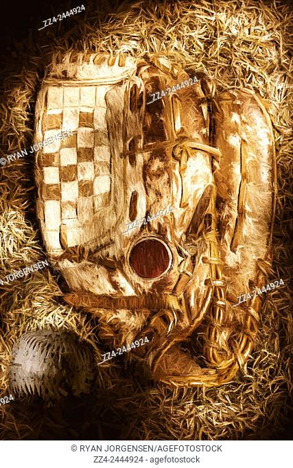 Vintage baseball illustration of a grungy glove and ball on a dry grass playing surface. Mitts and squiggles